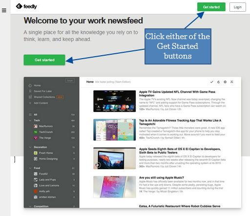 1 feedly desktop screenshot initial page