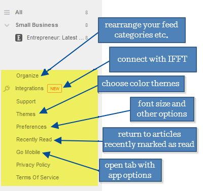 10 feedly screenshot sidebar options